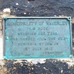 Plaque placed by Waverley Council