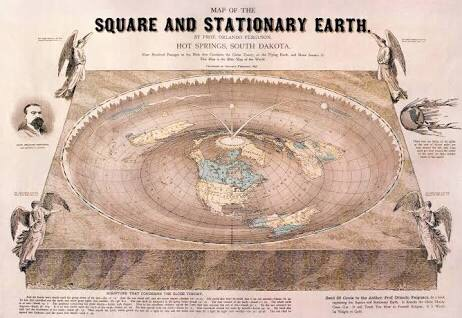 Flat Earth map drawn by Orlando Ferguson in 1893. The map contains several references to biblical passages as well as various jabs at the