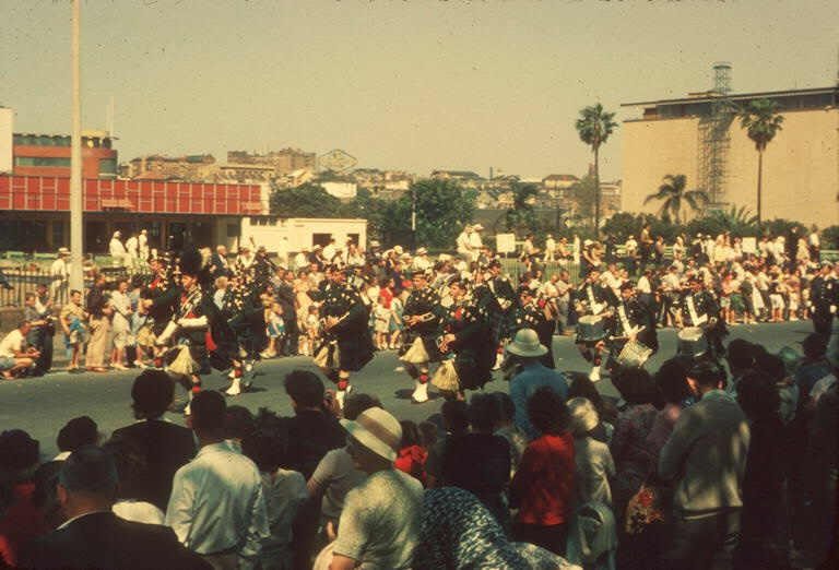 Marching bands in the Waratah Spring Festival procession, 1950s (City of Sydney Archives, SRC18287)