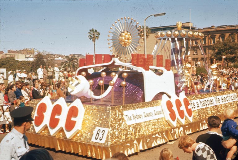 Sydney County Council's float featuring a large plug, 1950s (City of Sydney Archives, SRC18258 )