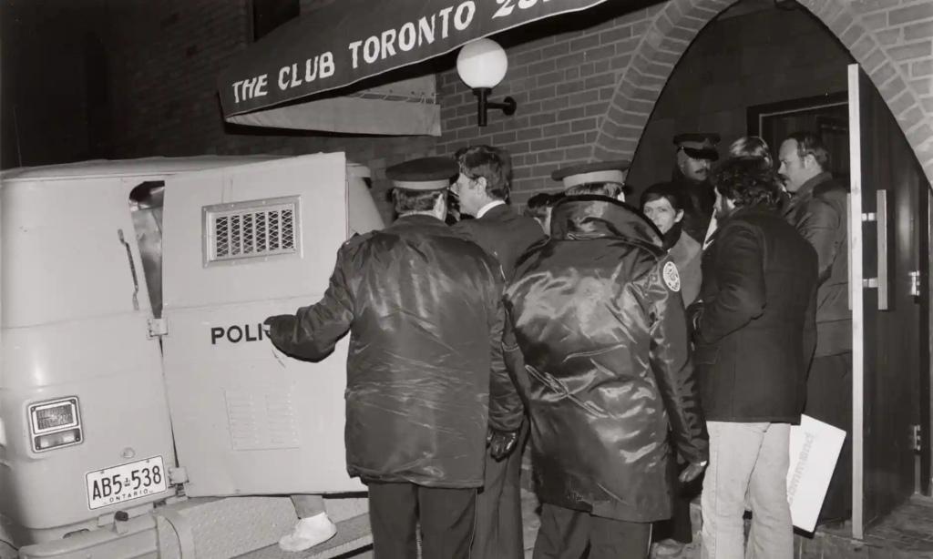Police raid the Club bathhoue in Toronto on 6 February 1981.